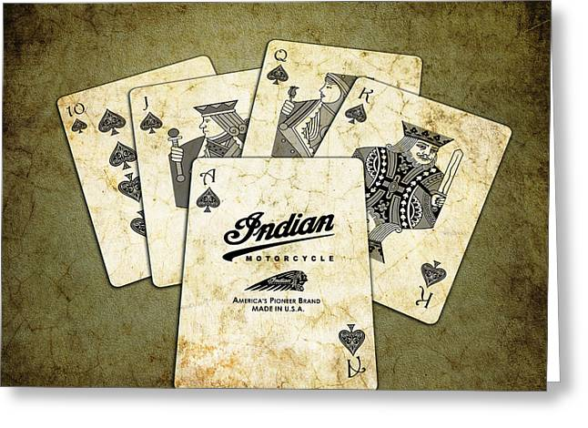 Playing Cards Photographs Greeting Cards - Indian - The Winning Hand Greeting Card by Mark Rogan