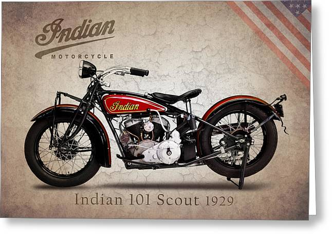 Motorcycles Greeting Cards - Indian 101 Scout 1929 Greeting Card by Mark Rogan