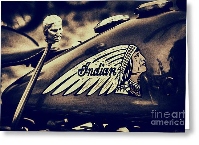 Suicide Greeting Cards - Indian 741B Scout Motorcycle  Greeting Card by Tim Gainey