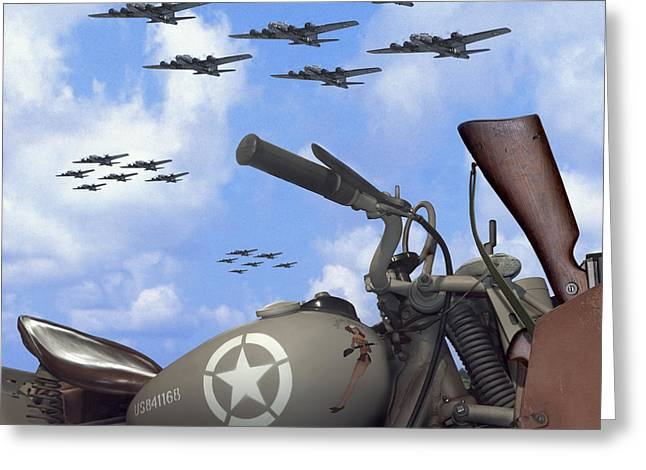 Fighters Greeting Cards - Indian 841 And The B-17 Bomber SQ Greeting Card by Mike McGlothlen