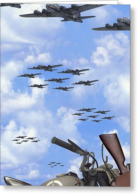 Motorcycles Greeting Cards - Indian 841 and the B-17 Panoramic Greeting Card by Mike McGlothlen