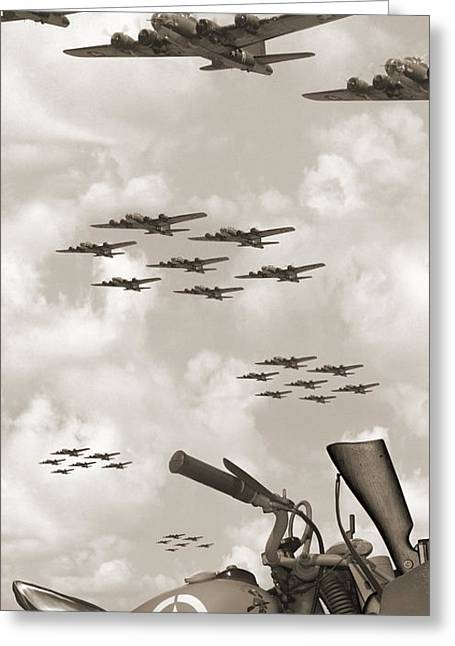 Vertical Digital Art Greeting Cards - Indian 841 And The B-17 Panoramic Sepia Greeting Card by Mike McGlothlen