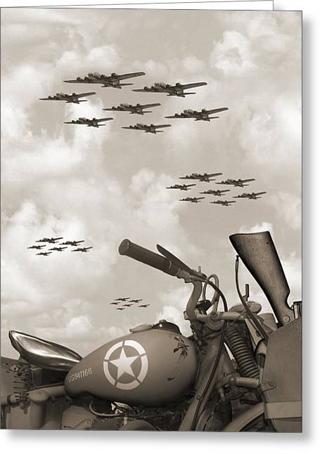 Indian 841 And The B-17 Panoramic Sepia Greeting Card by Mike McGlothlen
