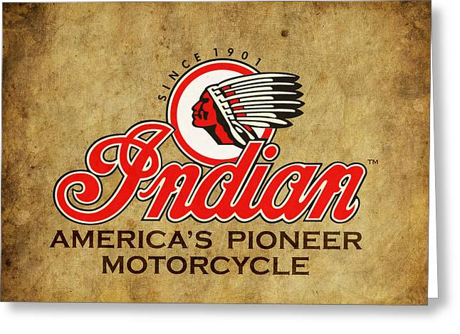 Old Motorcycle Greeting Cards - Indian Americas Pioneer Motorcycle Greeting Card by Mark Rogan
