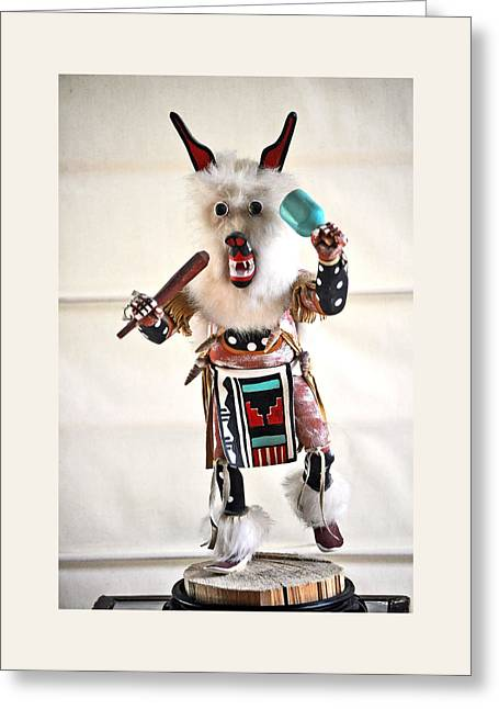 Indian Art White Wolf Greeting Card by Jay Milo