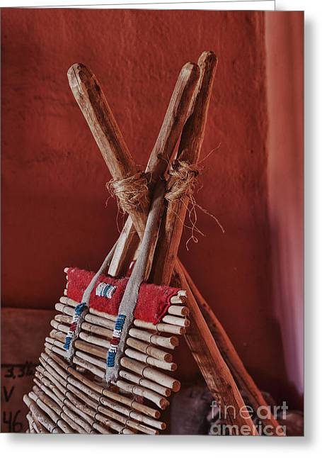 Gaines Greeting Cards - Indian Backrest Color Greeting Card by Robert Gaines