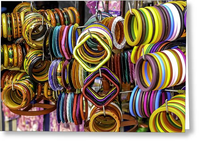 Gold Necklace Greeting Cards - Indian Bangles Greeting Card by Jijo George