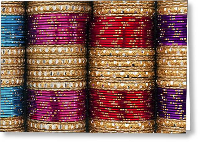 Indian Ethnicity Greeting Cards - Indian Bangles Panoramic Greeting Card by Tim Gainey