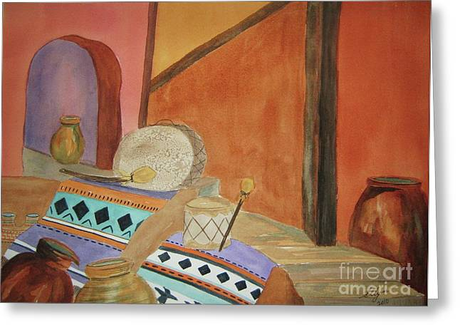 Interior Still Life Paintings Greeting Cards - Indian Blankets Jars and Drums Greeting Card by Ellen Levinson