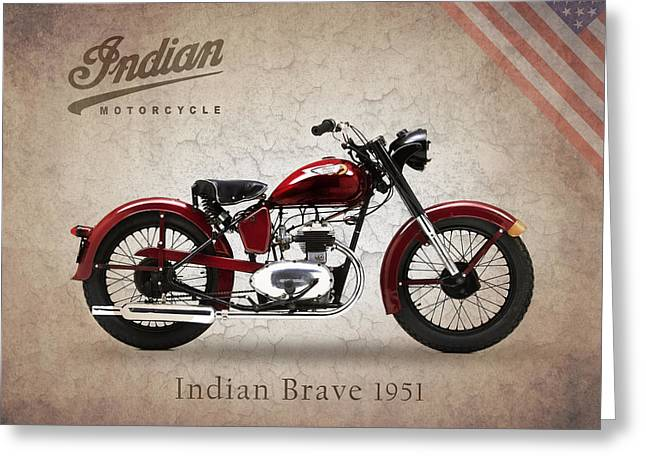Motorcycles Greeting Cards - Indian Brave 1951 Greeting Card by Mark Rogan