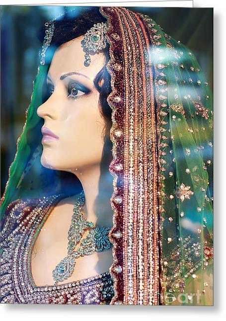 Jewellery Greeting Cards - Indian Bride Mannequin Greeting Card by Charline Xia