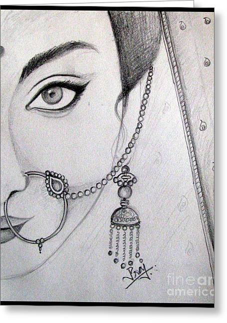 Gold Earrings Greeting Cards - Indian bride Greeting Card by Prajakta P