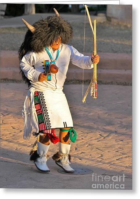 Festivities Greeting Cards - Indian Buffalo Thunder Dance Greeting Card by Janice Rae Pariza