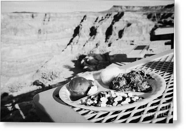 State Dinners Greeting Cards - indian buffet food at guano point on the edge of the grand canyon home of the hualapai nation Arizon Greeting Card by Joe Fox