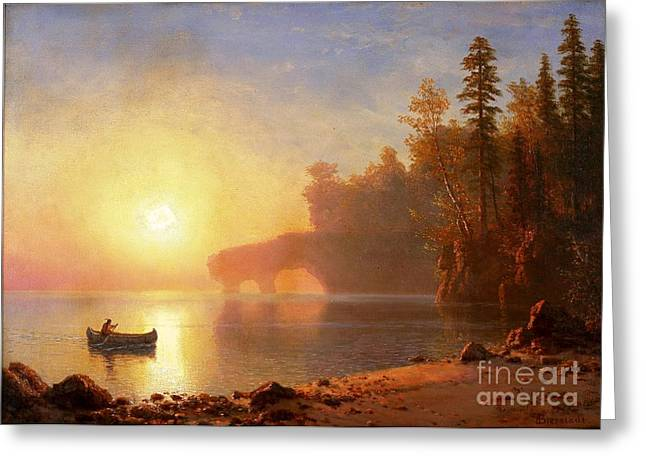 Canoe Paintings Greeting Cards - Indian Canoe Greeting Card by Pg Reproductions