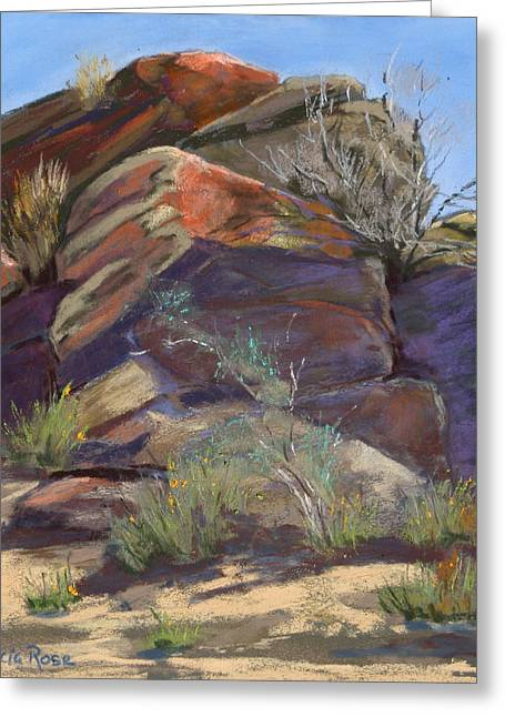 Weed Pastels Greeting Cards - Indian Canyon Rocks and Weeds Greeting Card by Patricia Rose Ford