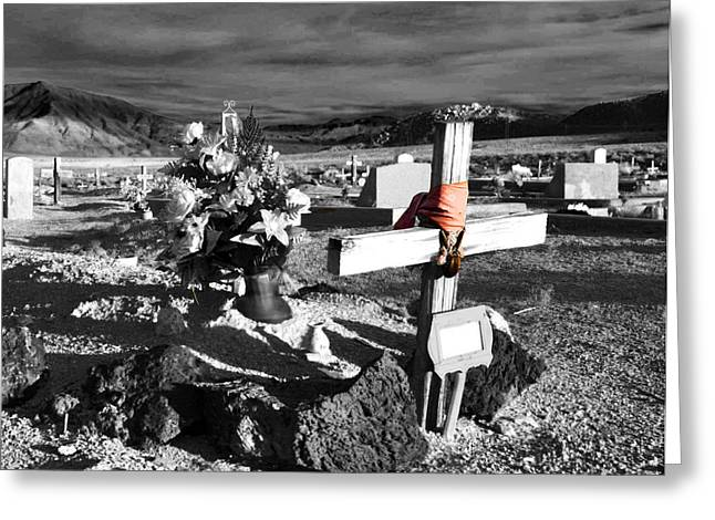 Black Cemetery Greeting Cards - Indian Cemetary Greeting Card by Cat Connor