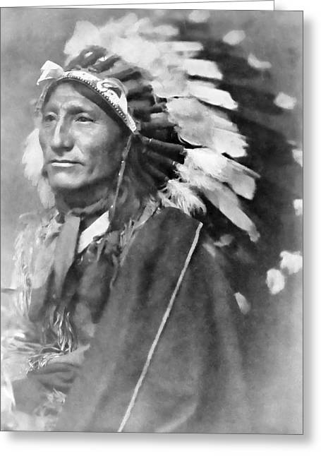 Indian Warriors Photographs Greeting Cards - Indian Chief - 1902 Greeting Card by Daniel Hagerman