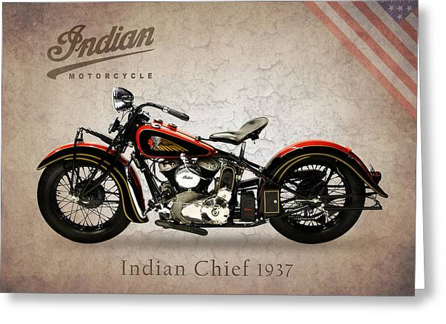 Motorcycle Greeting Cards - Indian Chief 1937 Greeting Card by Mark Rogan