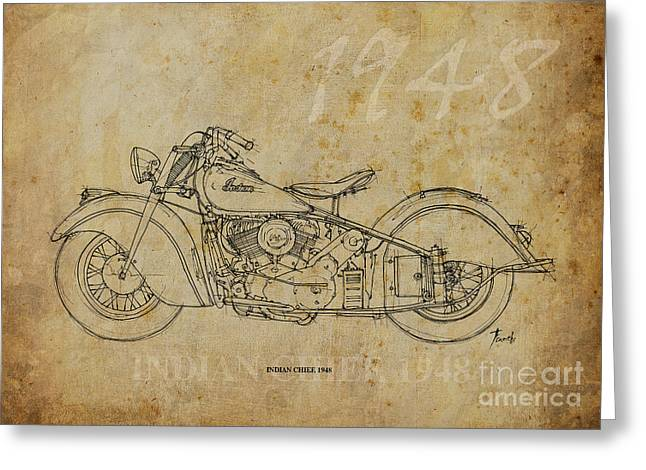 Nero Greeting Cards - Indian Chief 1948 Greeting Card by Pablo Franchi