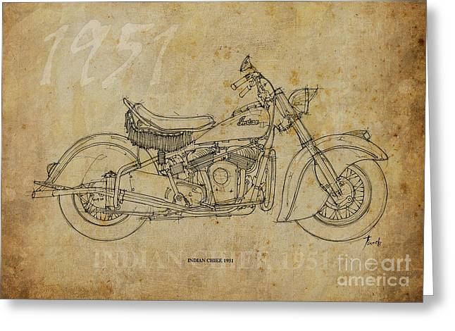 Nero Greeting Cards - Indian Chief 1951 Greeting Card by Pablo Franchi