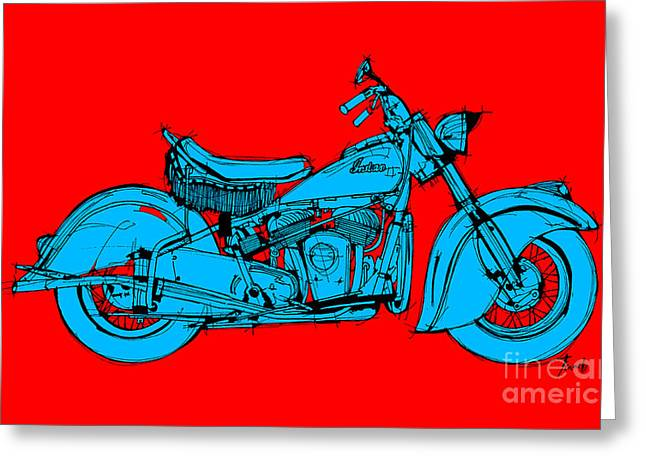1951 Drawings Greeting Cards - Indian Chief 1951 red and blue Greeting Card by Pablo Franchi