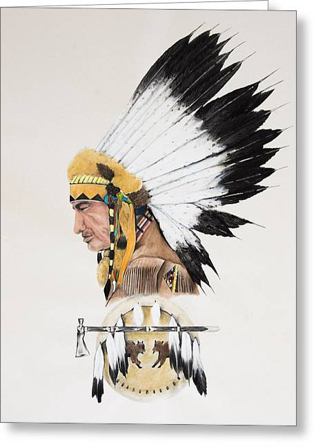 Joe Lisowski Greeting Cards - Indian Chief contemplating Greeting Card by Joe Lisowski