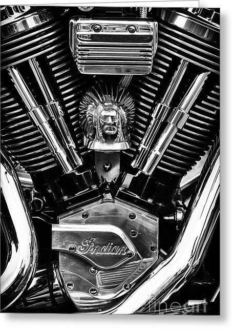 Head Badge. Logo. Greeting Cards - Indian Chief Engine Greeting Card by Tim Gainey
