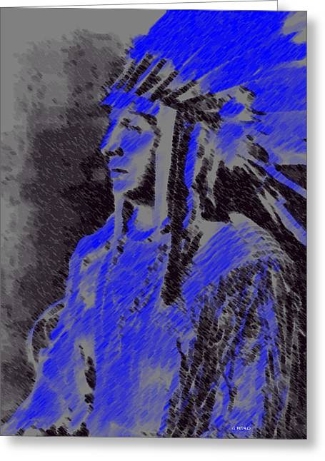 Algorithmic Abstract Pastels Greeting Cards - Indian Chief Greeting Card by George Pedro