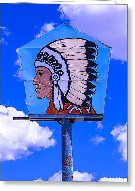 Indian Chief Sign Greeting Card by Garry Gay