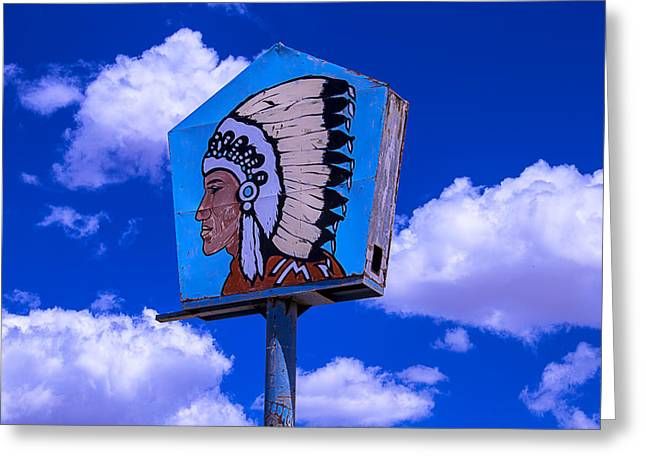 Colorful Indian Chief Greeting Cards - Indian Chief Sign With Clouds Greeting Card by Garry Gay