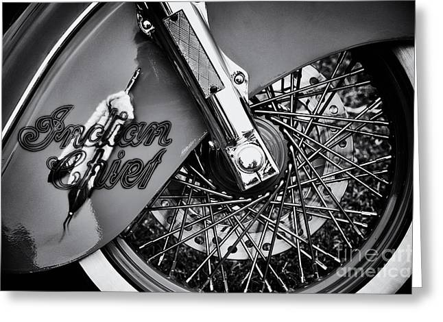 Spokes Greeting Cards - Indian Chief Spoked Wheel Monochrome Greeting Card by Tim Gainey