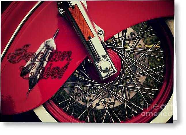 Soaked Greeting Cards - Indian Chief Spoked Wheel Greeting Card by Tim Gainey