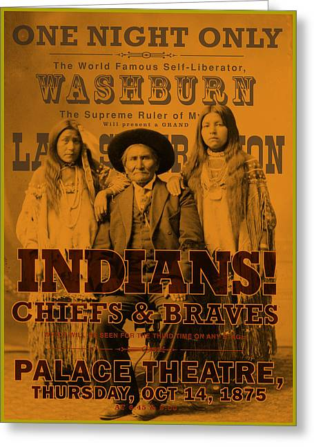 Antique Digital Art Greeting Cards - Indian Chiefs and Braves Greeting Card by Gary Grayson