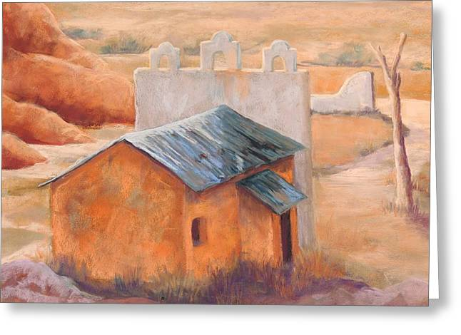 Southwest Pastels Greeting Cards - Indian Cliffs Church Greeting Card by Candy Mayer