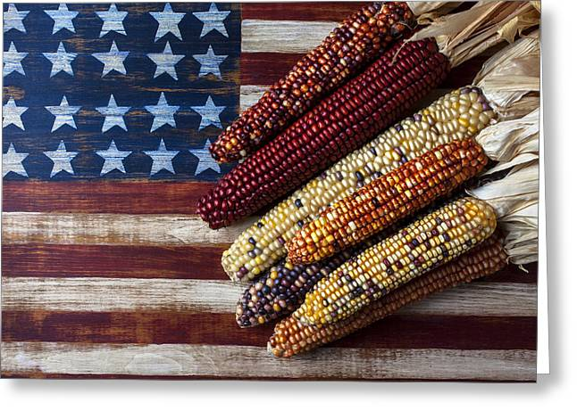 Harvest Art Greeting Cards - Indian Corn On American Flag Greeting Card by Garry Gay
