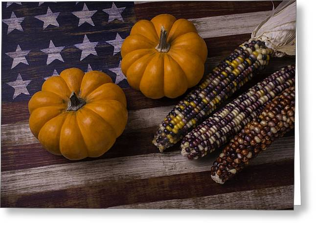 Indian Corn On Old Flag Greeting Card by Garry Gay