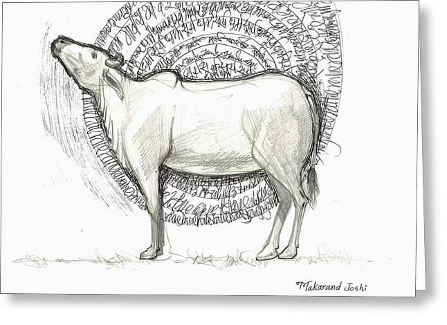 Devotional Art Mixed Media Greeting Cards - Indian cow with chants back ground Greeting Card by Makarand Joshi