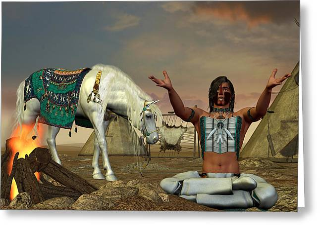 Civilization Greeting Cards - Indian Cry for Rain Greeting Card by Corey Ford