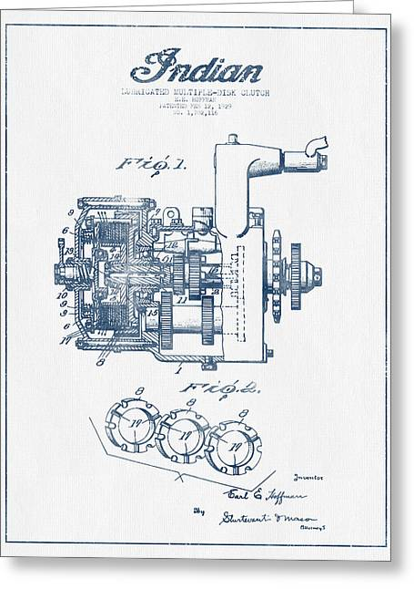 Motorcycle Digital Art Greeting Cards - Indian Disk Clutch Patent Drawing From 1929 - Blue Ink Greeting Card by Aged Pixel