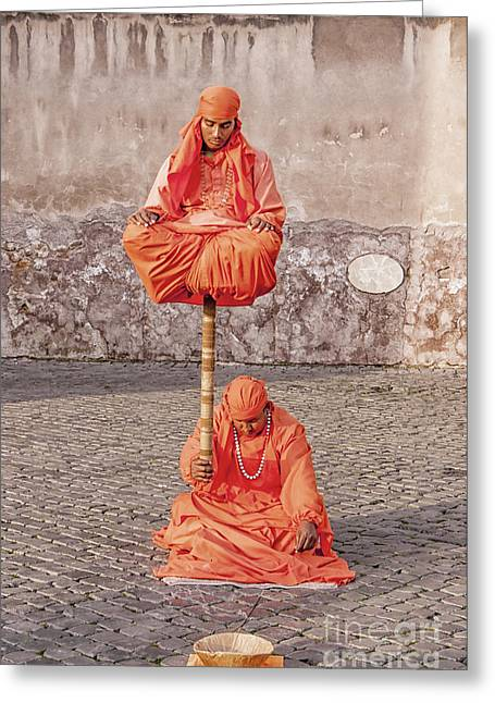 Indian Actor Greeting Cards - Indian Fakir Street Performers Greeting Card by Antony McAulay
