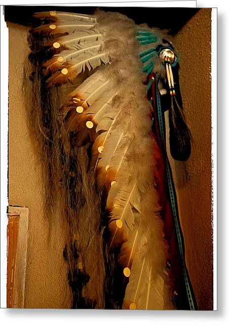 Colorful Indian Chief Greeting Cards - Indian feathered Headdress Greeting Card by David Patterson