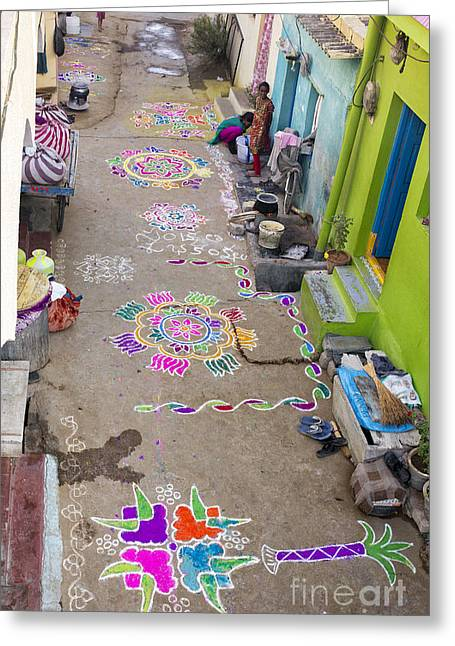 Colorful Indian Greeting Cards - Indian Festival Morning  Greeting Card by Tim Gainey