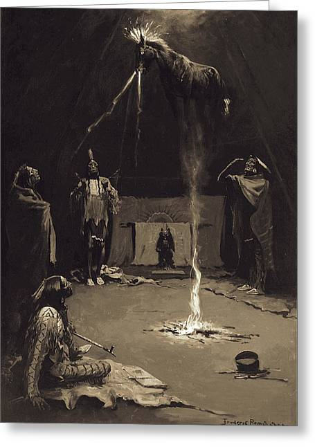 Remington Greeting Cards - Indian Fire God. The Going of the Medicine-Horse Greeting Card by Frederic Remington