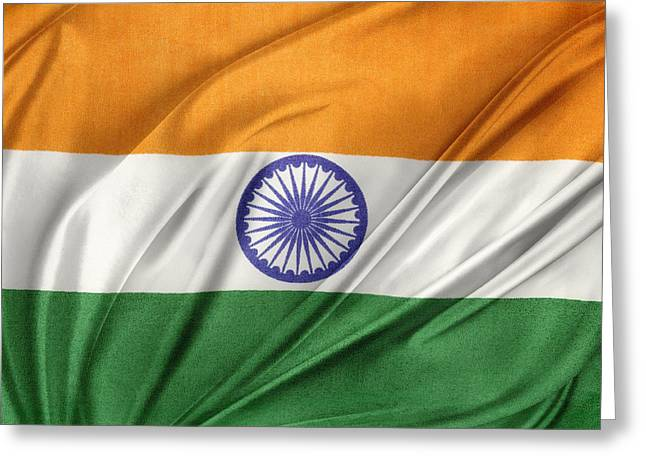 Waving Flag Greeting Cards - Indian flag Greeting Card by Les Cunliffe
