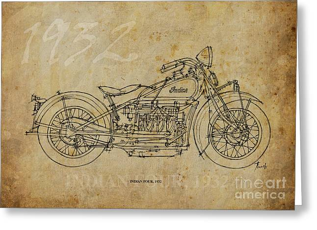 Indian Ink Mixed Media Greeting Cards - Indian Four 1932 Greeting Card by Pablo Franchi