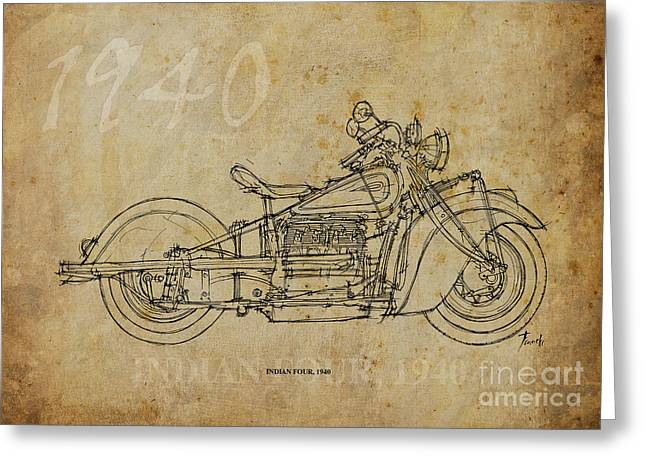 Handmade Drawings Greeting Cards - Indian Four 1940 Greeting Card by Pablo Franchi