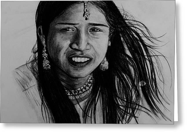 Indian Girl Greeting Card by Caroline  Reid