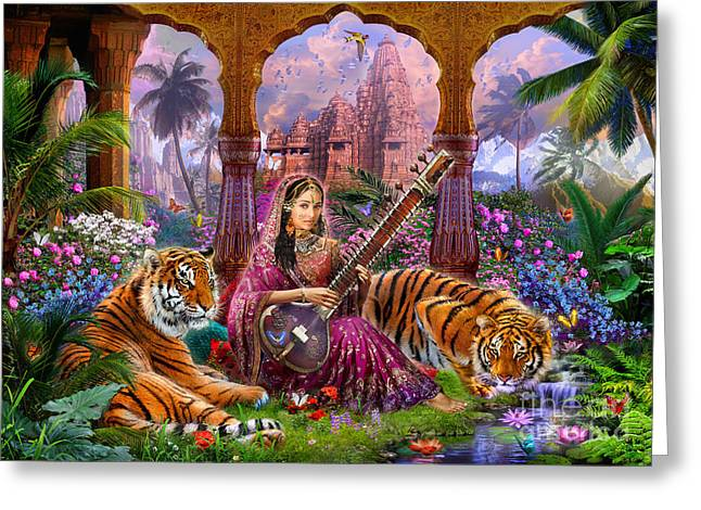 Tiger Illustration Greeting Cards - Indian Harmony Greeting Card by Jan Patrik Krasny