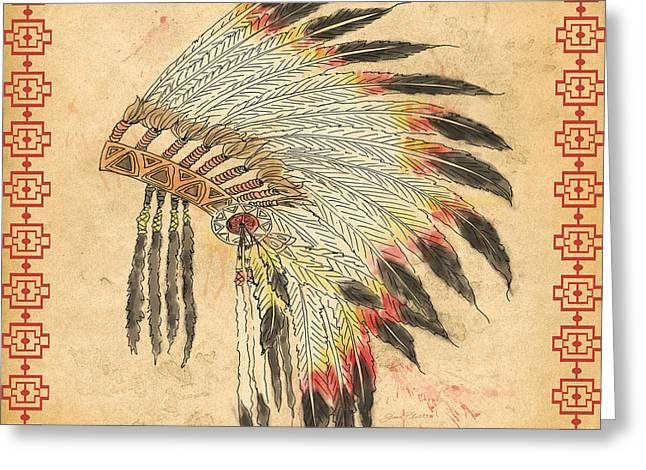 Pen Mixed Media Greeting Cards - Indian Head Dress-A Greeting Card by Jean Plout